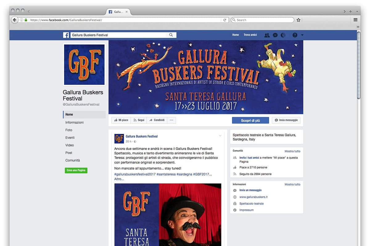 Gallura Buskers Festival - post facebook