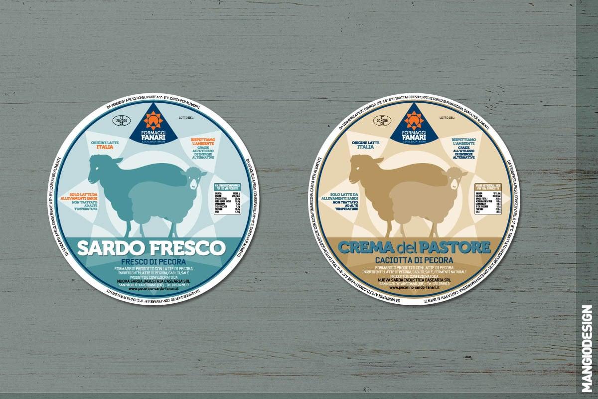 Logo Formaggi Fanari - etichette Sardo Fresco e Crema del Pastore